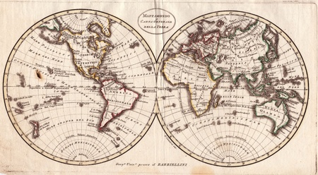 hemispheres: High-quality Antique Map - Barbiellini