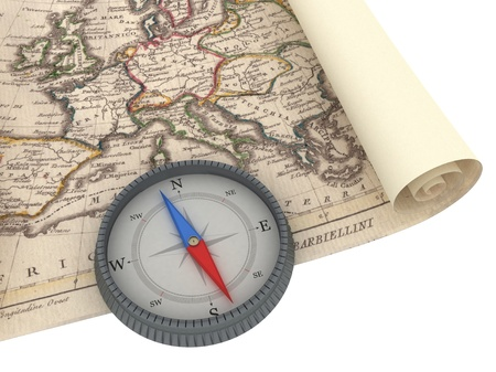 Old Map and Compass Isolated on white