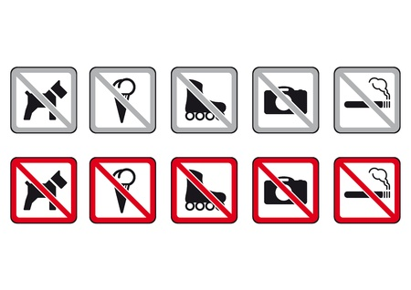 no photo: No dogs, no rollers, no photo, no smoking Illustration