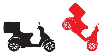 fast delivery: Scooter silhouette - Fast Delivery Service Symbol Illustration