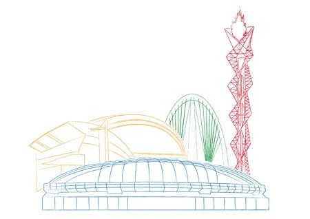 olympic stadium: High Quality Contour Buildings Illustration