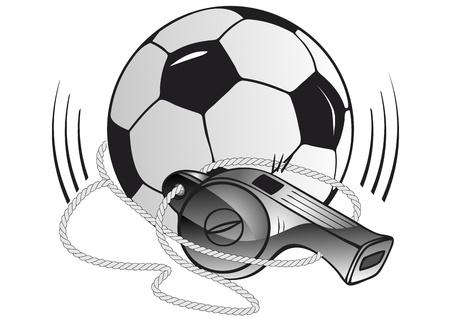 Balón de fútbol y un silbato Ilustración de vector