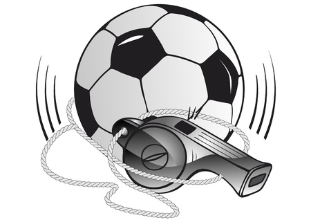 Soccer ball and whistle Vector