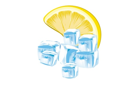 Lemon and ice cubes Stock Vector - 13015750