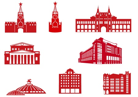 Moscow Buildings Icons Stock Vector - 13237263