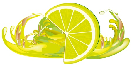 Juice splashes and lemon Stock Vector - 13250524