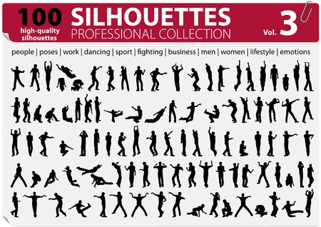 100 Silhouettes Professional Collection Stock Vector - 13247781