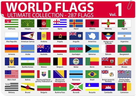 World Flags - Ultimate Collection - 287 flags - Volume 1 Stock Vector - 13250804