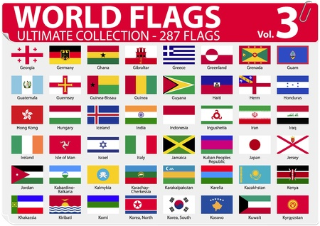 World Flags - Ultimate Collection - 287 flags - Volume 3 Vector