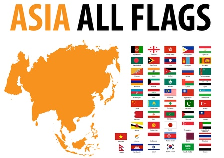 Asia All Flags Stock Vector - 13250789