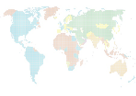 Dot Style World Map With Continents Stock Vector - 13264843