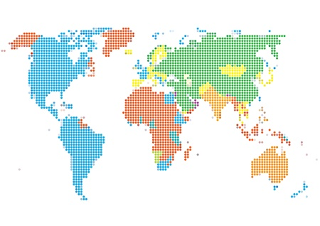 Dot Style World Map With Continents Stock Vector - 13439413