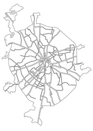 Moscow vector map - contour outline illustration