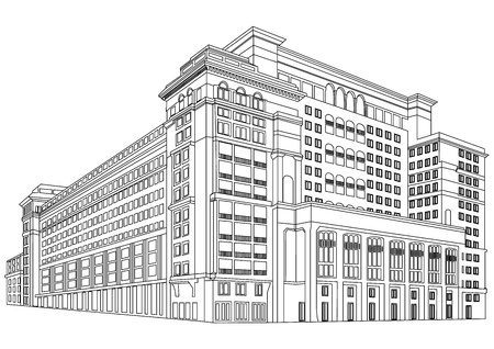 hospitals: Contour Building Illustration