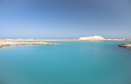 Amazing Blue lake among the sand and rocks photo