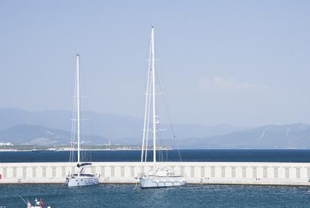 Marina with yachts and boats photo