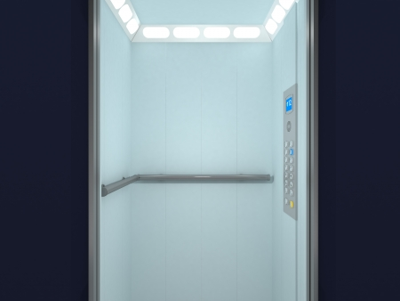 Modern Elevator Interior and Exterior Stock Photo - 14991764