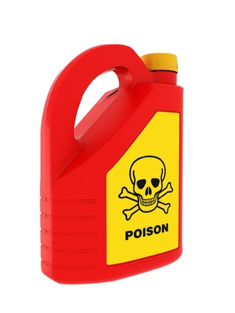 Jerrycan of poison on a white background