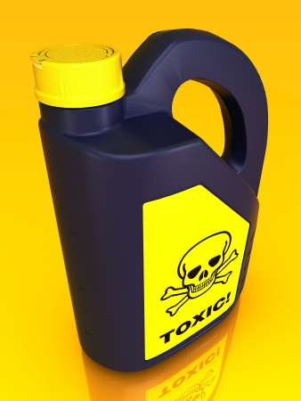 Jerrycan of poison on a yellow background Stock Photo - 15612392