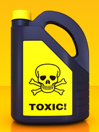 poison sign: Jerrycan of poison on a yellow background Stock Photo