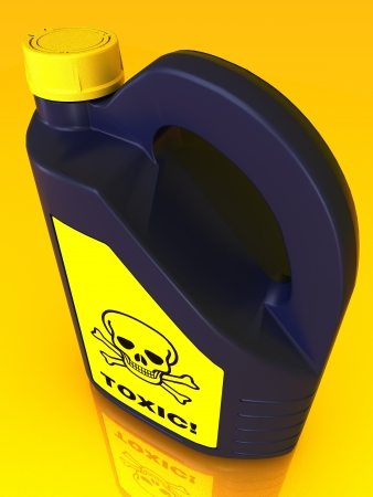 Jerrycan of poison on a yellow background Stock Photo - 15775027