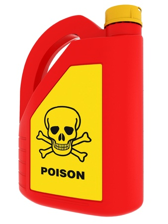 poison sign: Jerrycan of poison on a white background