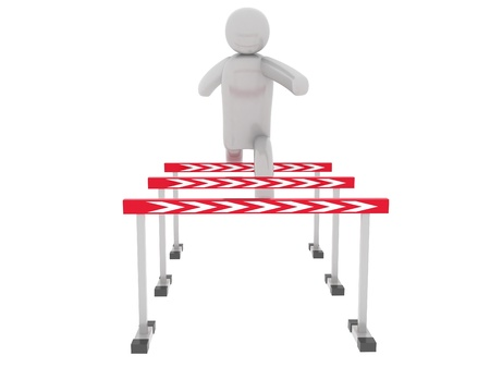 Gray man jumps over the barriers Stock Photo - 15963037