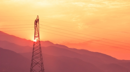 Electric Power lines at Sunset photo