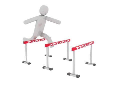 pictogramm: Gray man jumps over the barriers Stock Photo