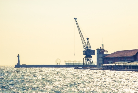 commercial docks: Commercial docks with cranes