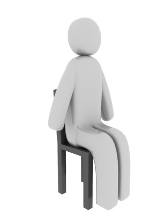 pictogramm: Gray man sitting on the chair Stock Photo