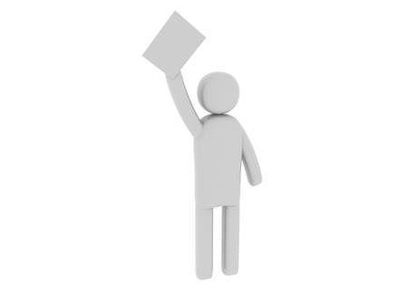pictogramm: Gray man with papers Stock Photo