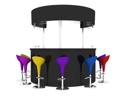 bar interior: Bar Interior with Chairs, Glasses Stock Photo