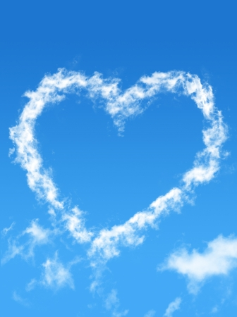 Blue sky with cloud style heart Stock Photo - 17343481