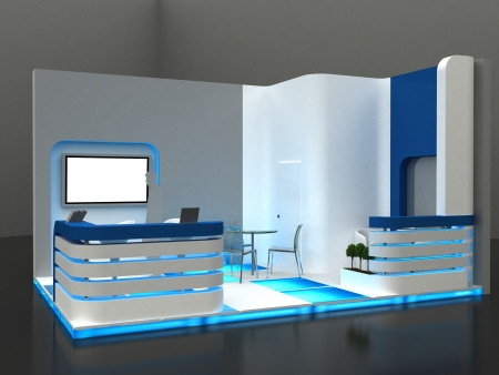 exhibitions: Exhibition Stand Interior   Exterior Sample Stock Photo
