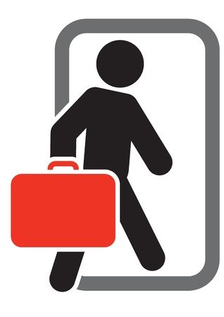 Passenger with luggage moving forward Stock Vector - 17578185