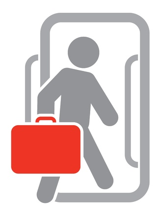 Passenger with luggage moving forward Vector