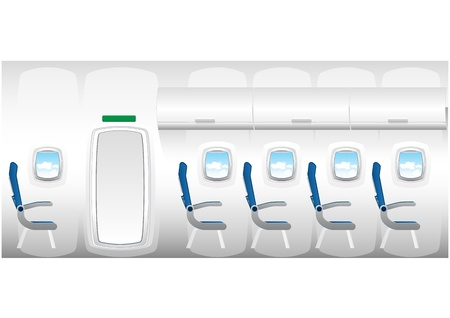 aeronautical: Illustration of plane - jet interior with seats
