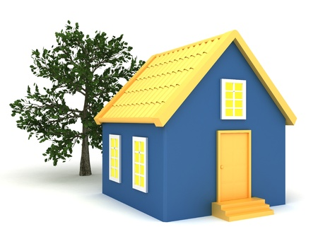 roof shingles: Small house with trees