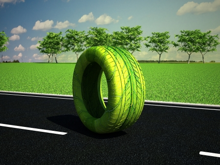 Green wheel on the road photo