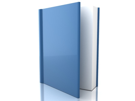 Blue book cover over white background Stock Photo - 18592239