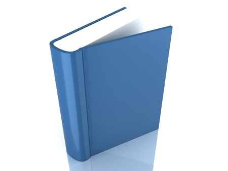 Blue book cover over white background