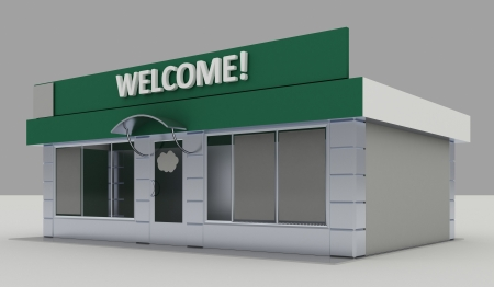 Illustration of shop - kiosk  exterior Stock Photo