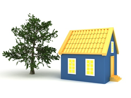 Small house with trees photo