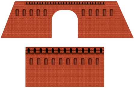 the kremlin: brick wall of moscwo kremlin Illustration