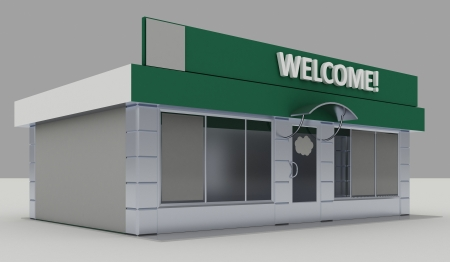 storefront: Illustration of shop - kiosk  exterior Stock Photo