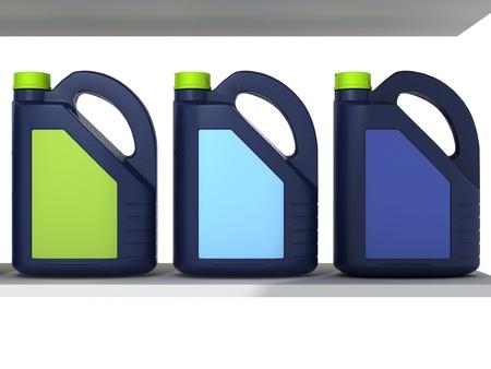 petrol can: Bidones con aceite de motor del coche - aislados Foto de archivo