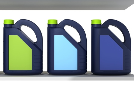 gas can: Jerrycans with car engine oil - isolated Stock Photo