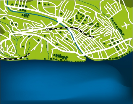 Cartoon map of Sochi, Russia Vector