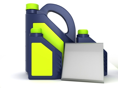 Jerrycans with car engine oil - isolated photo